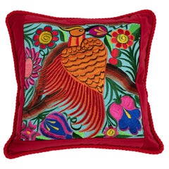 One-of-a-Kind Pillow with Cranberry Guatemalan Bird and Flower Embroidery