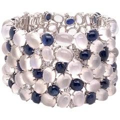 One of a Kind Platinum 177.49 Carat Moonstone, Diamond and Sapphire Bracelet