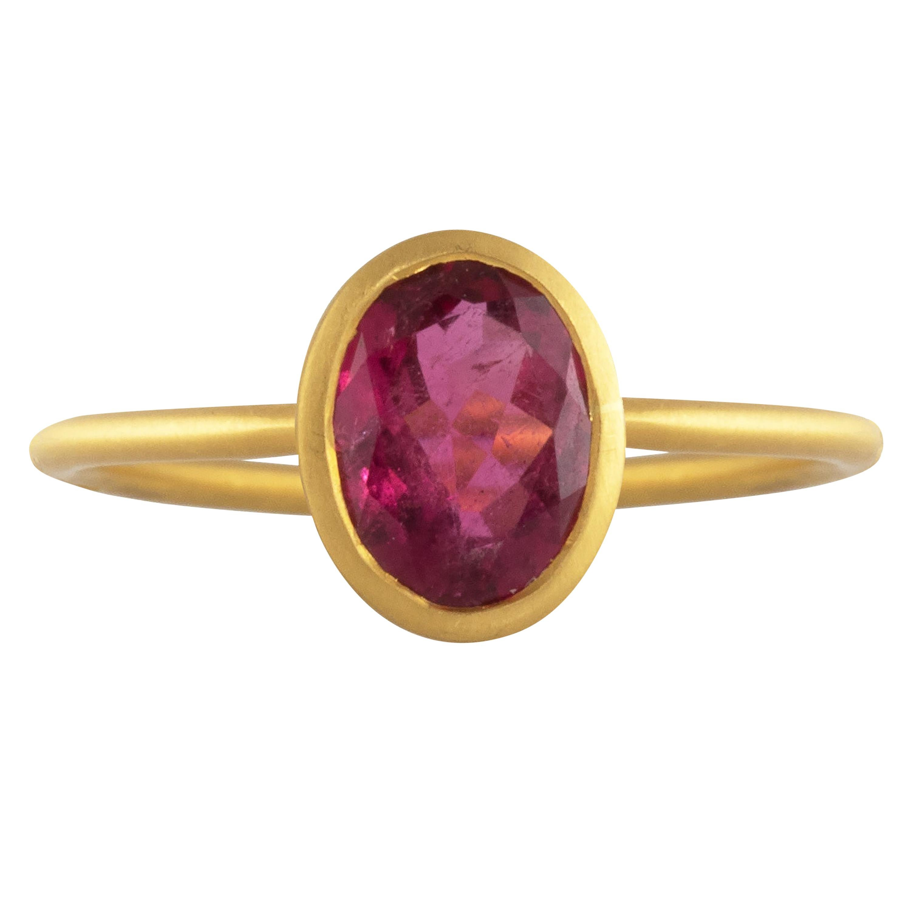 Ico & the Bird Fine Jewelry Red Spinel 22 Karat Gold Ring