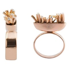 Articulate Your One of a Kind with White and Yellow Diamond Rose Gold Ring