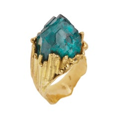 One of a Kind Roland Schad Rough Dioptase 18 Carat Yellow Gold Granite Ring