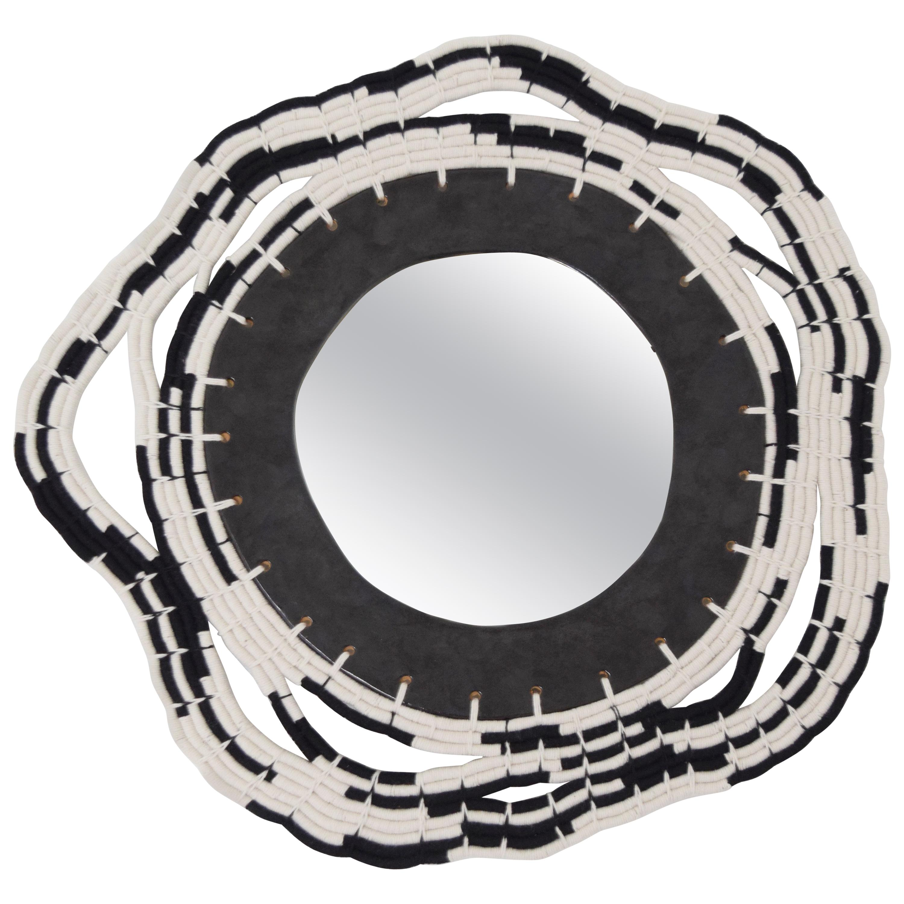 One of a Kind Round Woven Cotton and Ceramic Mirror in White/Black