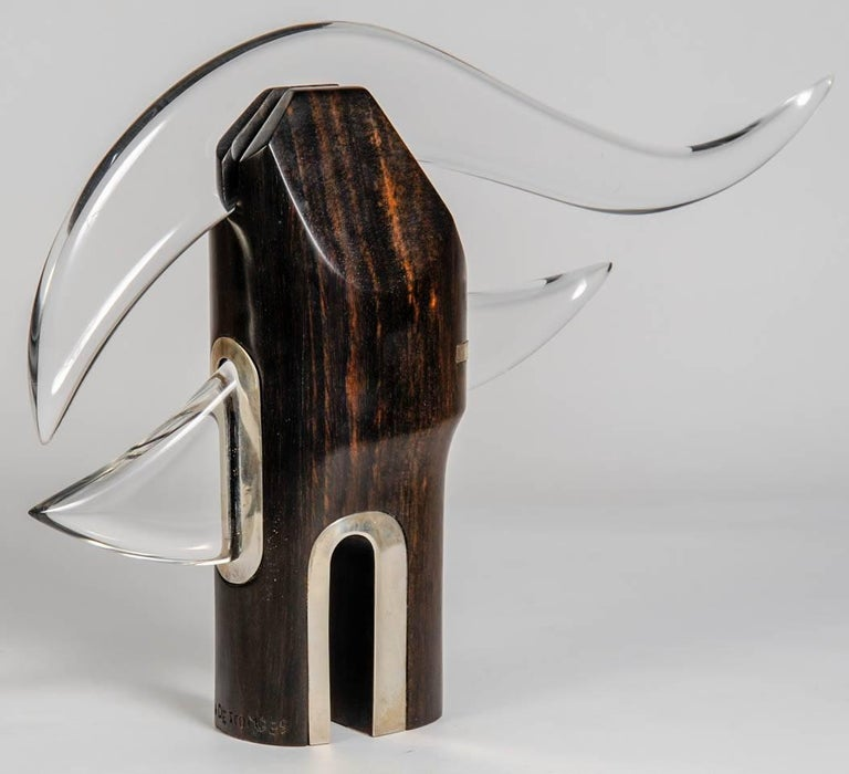French One of a Kind Sculpture in Rosewood, Silver and Lucite by Alain Descombes For Sale
