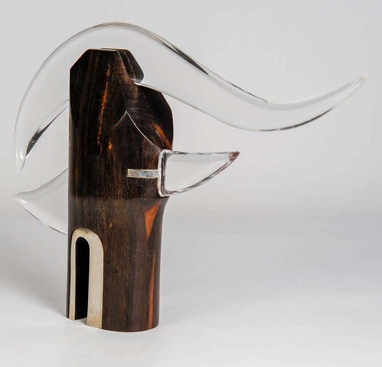 One of a Kind Sculpture in Rosewood, Silver and Lucite by Alain Descombes In Excellent Condition For Sale In Paris Saint Ouen, FR