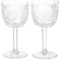 One-of-a-Kind Set of 12 Cut Crystal Goblets by Erwin Krause for Tharaud Designs