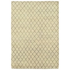 One-of-a-Kind Shaggy Moroccan Wool Hand Knotted Area Rug, Beige
