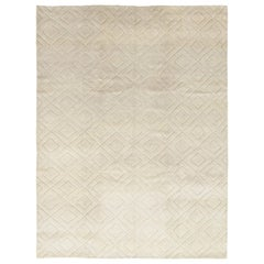 One-of-a-Kind Shaggy Moroccan Wool Hand Knotted Area Rug, Bone