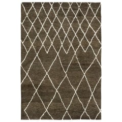One-of-a-Kind Shaggy Moroccan Wool Hand Knotted Area Rug, Chocolate