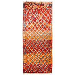 One-of-a-Kind Shaggy Moroccan Wool Hand Knotted Runner, Scarlet
