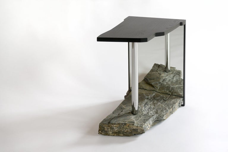 Missisquoi 11, side table, accent table or end table.  2019. Solid blackened ash, chrome-plated steel, sedimentary stone.  dimensions: 19