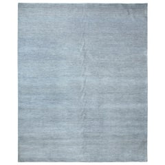 One of a Kind Solid Wool Viscose Blend Hand Loomed Area Rug, Mist