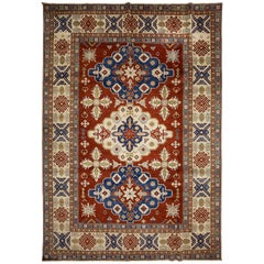 One of a Kind Southwestern Wool Hand Knotted Area Rug, Carmine