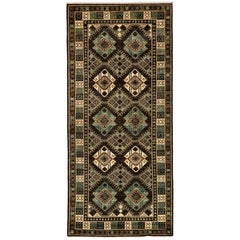 One-of-a-Kind Southwestern Wool Hand Knotted Runner Rug, Olive