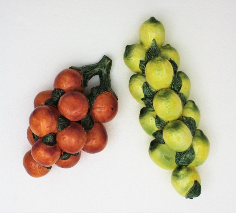 One of a Kind Spanish Glazed Ceramic Lemons and Oranges Wall Decorations For Sale 11