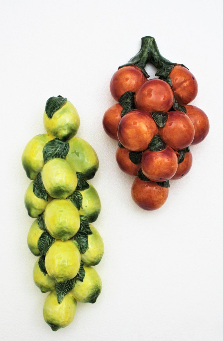 Stunning set of lemons and oranges Manises Majolica ceramic wall decorations, Spain, 1960s.