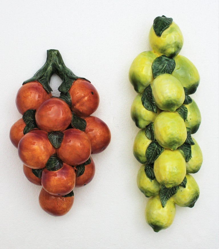 Mid-Century Modern One of a Kind Spanish Glazed Ceramic Lemons and Oranges Wall Decorations For Sale