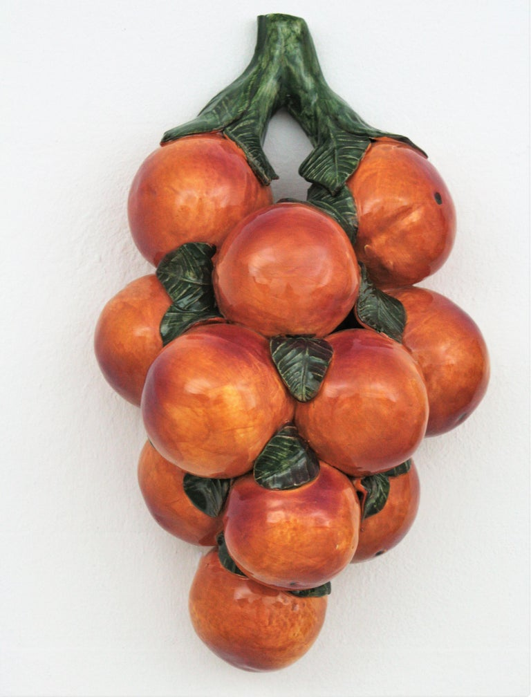 20th Century One of a Kind Spanish Glazed Ceramic Lemons and Oranges Wall Decorations For Sale