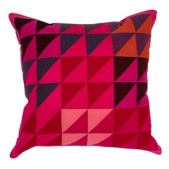 One-of-a-Kind Square Quilted Pillow in Pink, Red, Blue, Orange and Brown Cotton