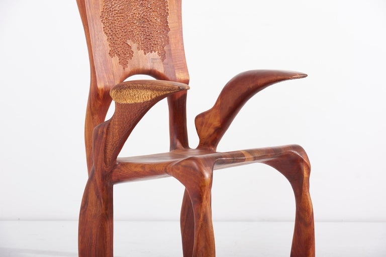 Absolute high end studio armchair by Charles B. Cobb. Made in American walnut. This is the first chair he ever made. A heavy brutal piece. A fantastic chair of American studio craft.