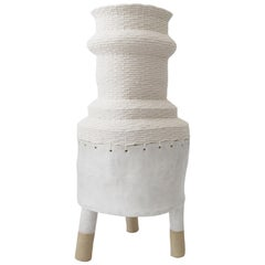 One of a Kind Tall Ceramic and Woven Cotton Floor Vessel in White