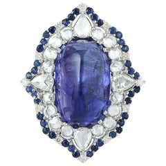 One of a Kind Tanzanite, Sapphire and Diamond Ring in 18 Karat White Gold