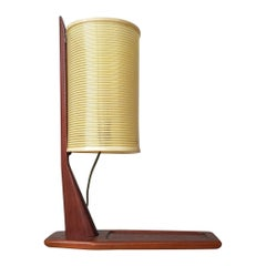 One of a Kind Teak and Rotaflex Desk Lamp Attributed to Rispal, France, 1960s