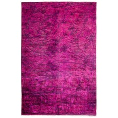 One-of-a-Kind Transitional Wool Hand Knotted Area Rug, Fuschia