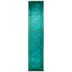 One-of-a-Kind Transitional Wool Hand Knotted Runner Rug, Emerald