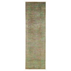 One-of-a-Kind Transitional Wool Hand Knotted Runner Rug, Mocha