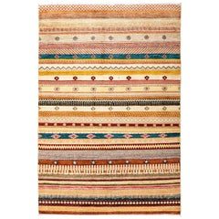 One-of-a-Kind Tribal Wool Hand Knotted Area Rug, Beige