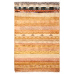 One of a Kind Tribal Wool Hand Knotted Area Rug, Caramel