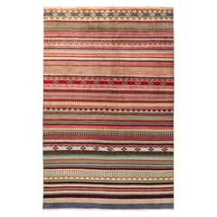 One of a Kind Tribal Wool Hand Knotted Area Rug, Garnet