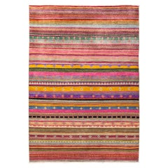One of a Kind Tribal Wool Hand Knotted Area Rug, Magenta