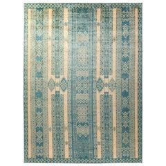 One-of-a-Kind Tribal Wool Hand Knotted Area Rug, Parchment