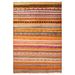 One of a Kind Tribal Wool Hand Knotted Area Rug, Tangerine
