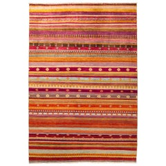 One-of-a-Kind Tribal Wool Hand Knotted Area Rug, Tangerine