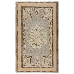 4.2x7 Ft Vintage Hand-knotted Turkish Deco Wool Rug in Muted Peach and Gray