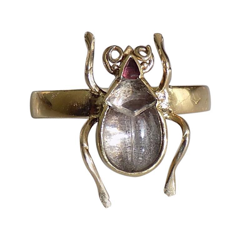 One of a Kind Victorian Rock Crystal 18 Karat Gold Bug Beetle Ring