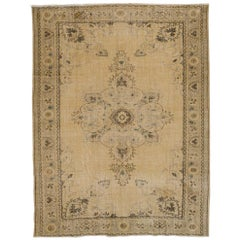 One of a kind Vintage Oushak Rug. Beige, Brown, Gray, Green Colors.