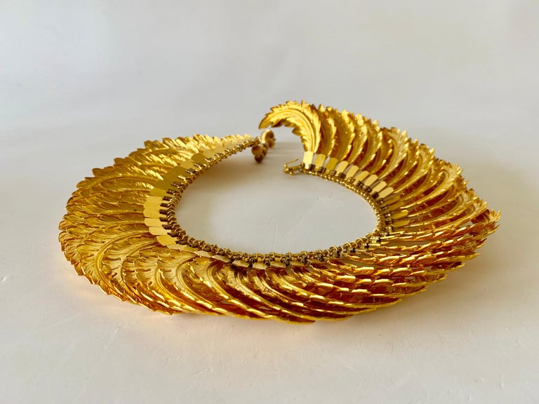 One Of A Kind Vintage Gilt Articulated Wing Statement Necklace For