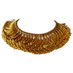 One Of a Kind Vintage Gilt Articulated Wing Statement Necklace