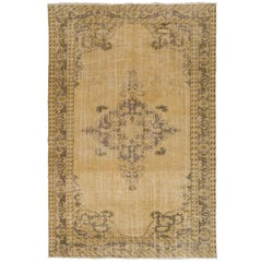 One of a Kind Vintage Hand Knotted Oushak Rug in Soft Colors
