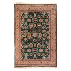 8.4x10.2 Ft Emerald Green and Peach Turkish Rug, 100% Wool & Natural Dyes