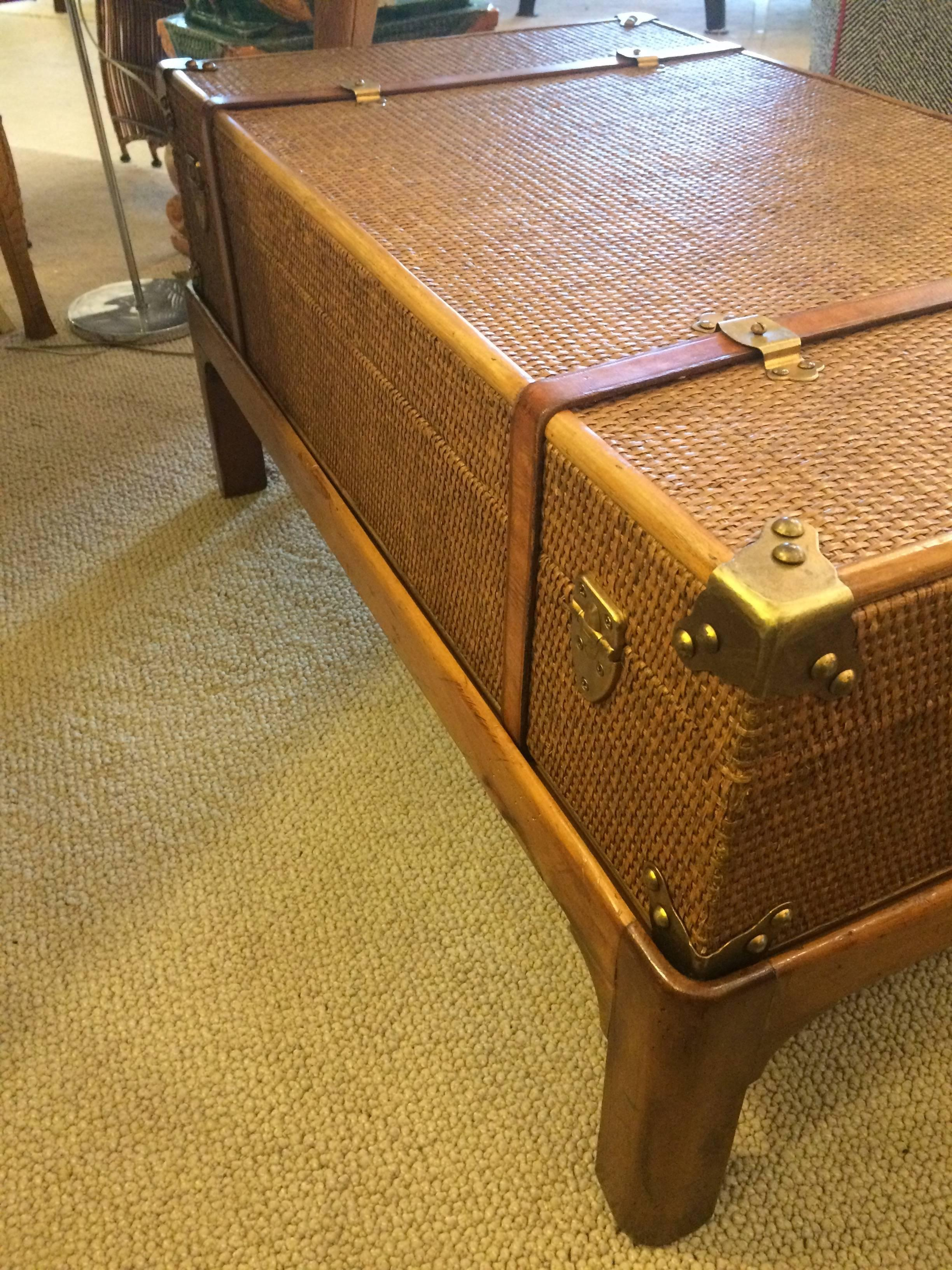 - One Of A Kind Vintage Rattan Suitcase Coffee Table On Custom