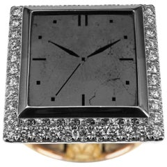"One of a Kind ""Watch"" Carved Black Diamond Designer Ring"