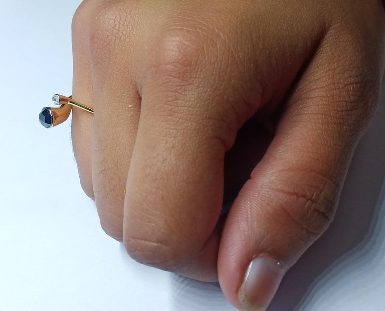 One of a Kind White Diamond Black Rosecut Diamond Yellow Gold Fashion Ring For Sale 9