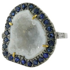 One of a Kind White Geode with Diamonds and Sapphire Set in Gold and Silver