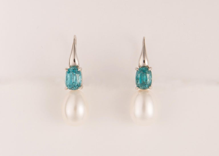 Contemporary One of a Kind White Gold Zircon and Pearl Earrings For Sale
