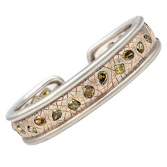 One of a Kind White/ Rose Gold Bangle with 23 Various Natural Colored Stones