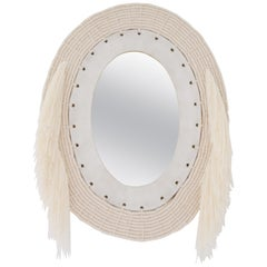 One of a Kind Woven Cotton and Ceramic Oval Mirror in White